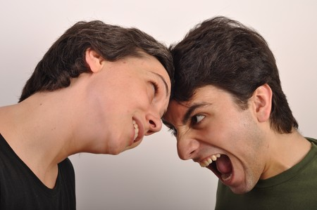 portrait of a woman and man yelling at each other Stock Photo - 7377556