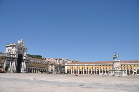 lisbon: famous Commerce Square also known as Terreiro do Pa�o in Lisbon, Portugal (statue of King Jos� I in the center) Stock Photo