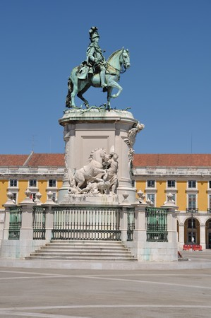 statue of King Jos� I in the center of the famous Commerce Square also known as Terreiro do Pa�o in Lisbon, Portugal photo