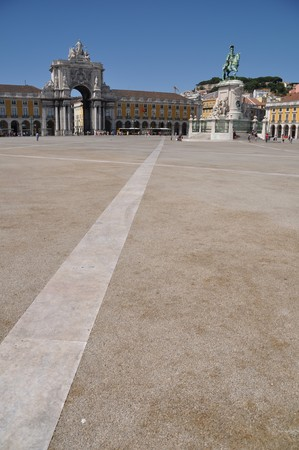 famous Commerce Square also known as Terreiro do Pa�o in Lisbon, Portugal (statue of King Jos� I in the center) photo