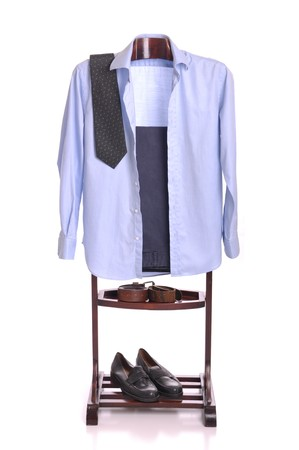business man clothing on a wooden hanger with shirt, tie, trousers, belts and shoes (isolated on white background) Stock Photo - 7508095