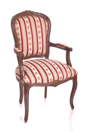 silla de madera: hermoso silla acolchada y antig�edad aislado sobre fondo blanco  Foto de archivo