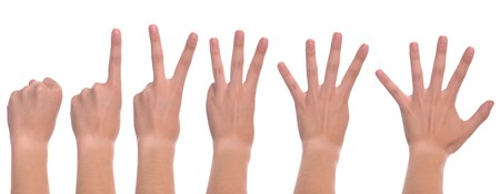 2 0: set of front woman hands counting from zero to five (isolated on white background)