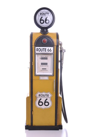 petrol pump: copy of a yellow vintage route 66 fuel pump isolated on white background