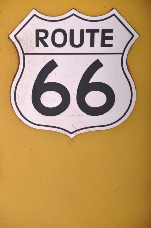 vintage route 66 sign on a yellow background Stock Photo - 7561687