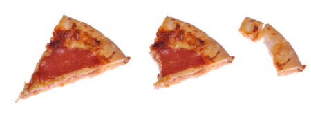 leftover: eating a slice of pepperoni pizza from whole to leftover