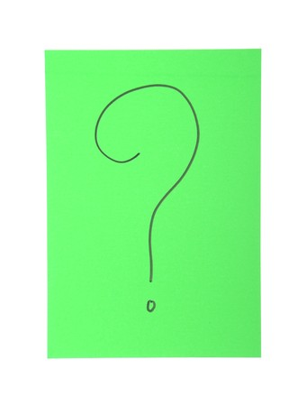 question mark on a green paper note isolated on white background Stock Photo - 7606178