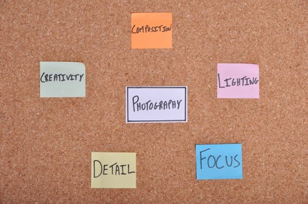 aspects: photography concept with essential aspects written on colorful note papers (bulletin board)