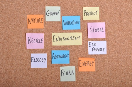 environment concept with keywords written on colorful note papers (bulletin board) photo
