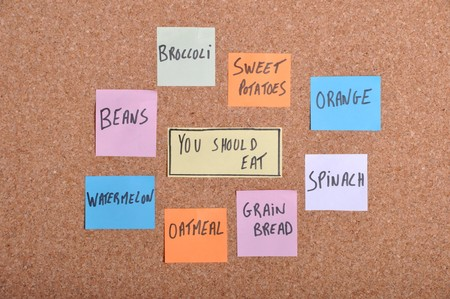 you should eat concept with colorful paper notes on a bulletin board photo