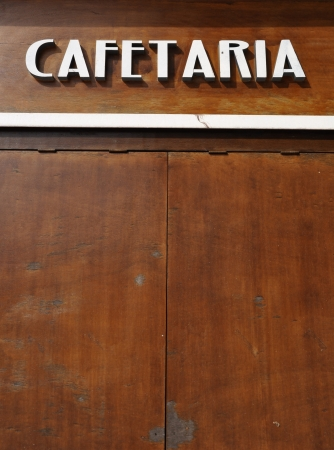 cafetaria sign (in english would be coffee house) on a wooden background Stock Photo - 7783285