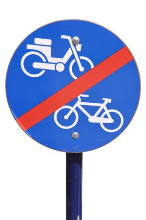 blue and white traffic sign advising no bicycle and no motorcycle (isolated on white background) photo