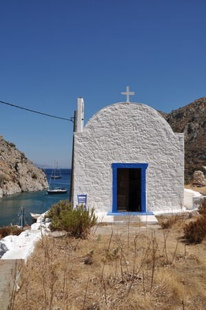 typical greek church in Kalymnos island, Greece Stock Photo - 8298175