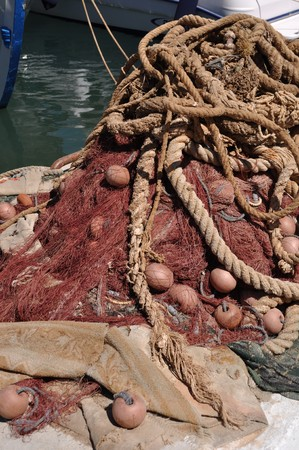 bright brown fishing net on Kalymnos island, Greece photo