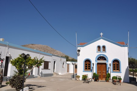 beautiful blue and white church in Pserimos island, Greece (gorgeous blue sky) Stock Photo - 8298009