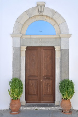 entrance detail of a greek church in Zia village (Kos island) Stock Photo - 7917102