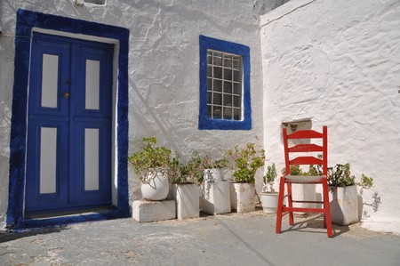 traditional house and chair in Zia village (Kos), Greece Stock Photo - 8298356