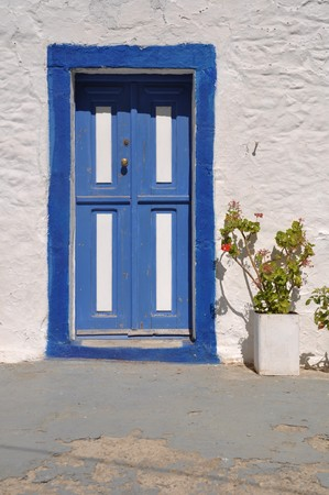 traditional blue greek door in Zia village (Kos), Greece photo
