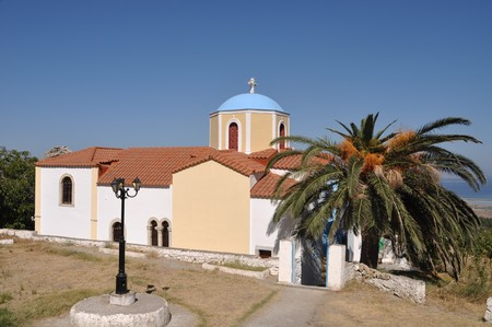 typical greek church in Zia village (Kos island), Greece (gorgeous blue sky) photo