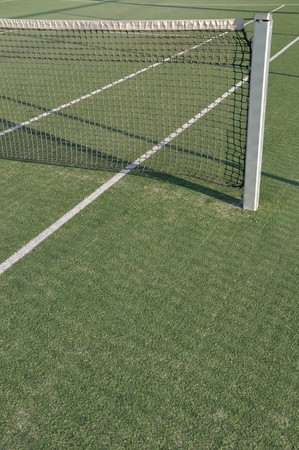 white lines on an outdoor tennis court (artificial grass) photo