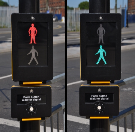 pedestrian traffic lights, red and green walk sign (road background) photo