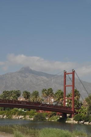 reminding: beautiful Puerto Banus bridge (reminding Golden Gate Bridge in San Francisco), Spain