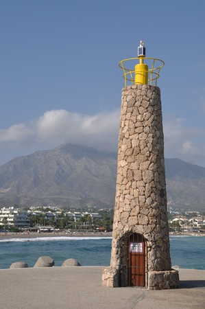 famous lighthouse in Puerto Banus (Marbella), Spain photo