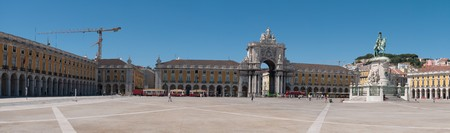 city square: panoramic picture of Commerce Square also known as Terreiro do Pa�o in Lisbon, Portugal Stock Photo