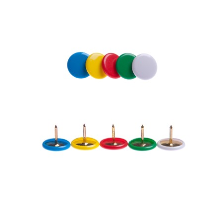 colored push pins (front and back) isolated on white background photo