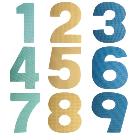 colorful numbers collection from 1 to 9 isolated on white background Stock Photo - 8355349