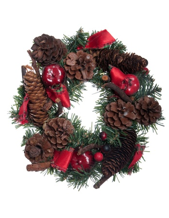 gorgeous Christmas wreath decoration isolated on white background Stock Photo - 8355153