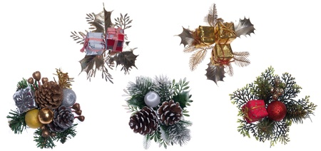 beautiful collection of Christmas decorations isolated on white background photo