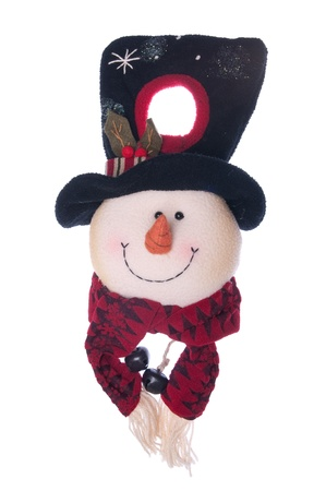 Christmas snowman door hanger (isolated on white background) photo