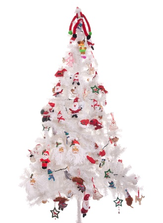 decorated christmas tree isolated on white background (white tree) Stock Photo - 8402545