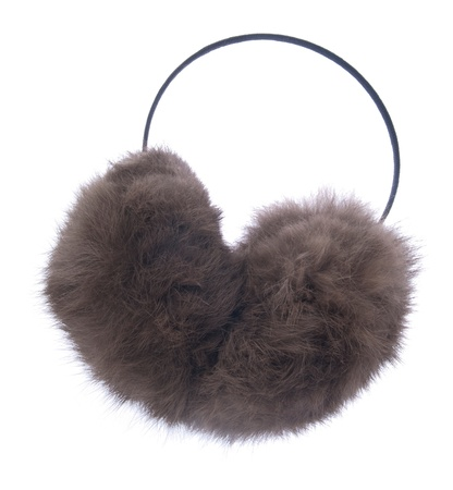 muff: fuzzy winter ear muff isolated on white background