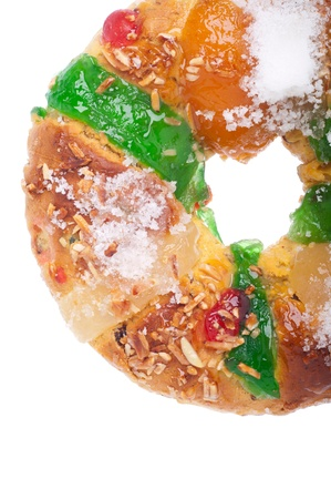 rei: traditional portuguese christmas cake called Bolo Rei (isolated on white background) Stock Photo