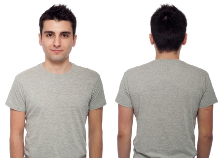 front and back of a young casual man wearing t-shirt isolated on white background  Stock Photo