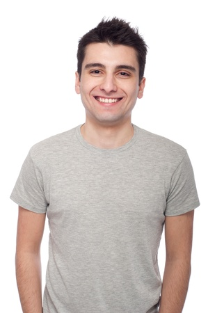 young casual man portrait isolated on white background  Stock Photo