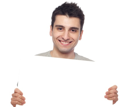 holding blank sign: handsome young man displaying a banner ad isolated on white background