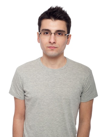 young casual man portrait isolated on white background Stock Photo - 8832479