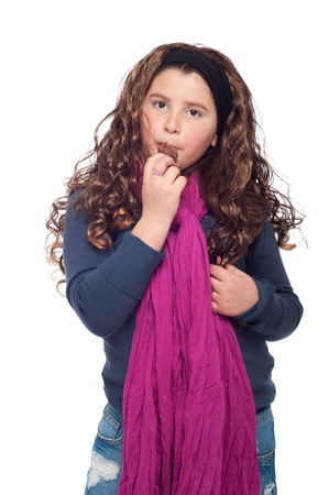 adorable little girl portrait dressed as teenager with long wig and glitter, eating an ice cream (isolated on white background) photo