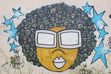 LISBON, APRIL 2 2009: colorful segment of a graffiti in Amoreiras quarter on a public road in LISBON, PORTUGAL Stock Photo - 9063126