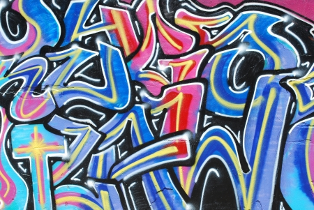 LISBON, APRIL 2 2009: colorful segment of a graffiti in Amoreiras quarter on a public road in LISBON, PORTUGAL Editorial