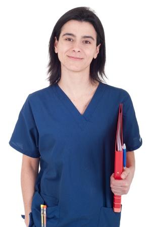 handsome female doctor holding folder isolated on white background photo
