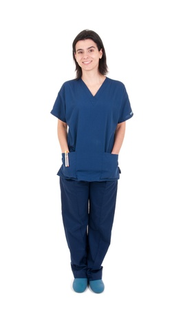 full length portrait of a handsome female doctor wearing uniform and clogs (isolated on white background) photo