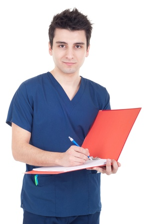 pratice: handsome male doctor making a note isolated on white background