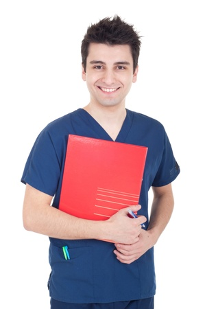 pratice: smiling handsome male doctor holding folder isolated on white background Stock Photo