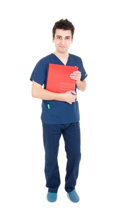 pratice: full length portrait of a handsome male doctor holding folder (isolated on white background)