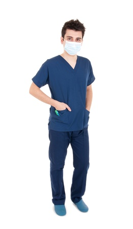 full length portrait of a handsome male doctor wearing mask (isolated on white background) photo
