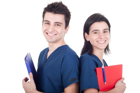 friendly team of doctors holding folders isolated on white background (back to back) photo